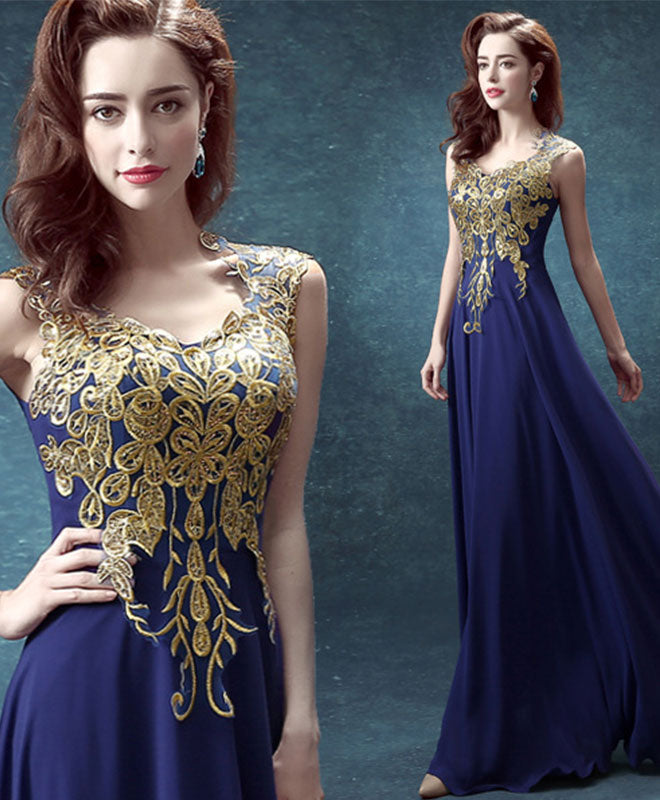 Navy blue chiffon and gold lace long prom dress