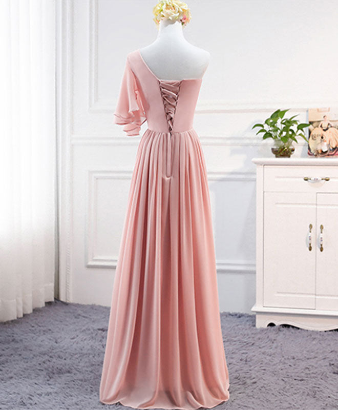 Simple one shoulder chiffon long prom dress, evening dress