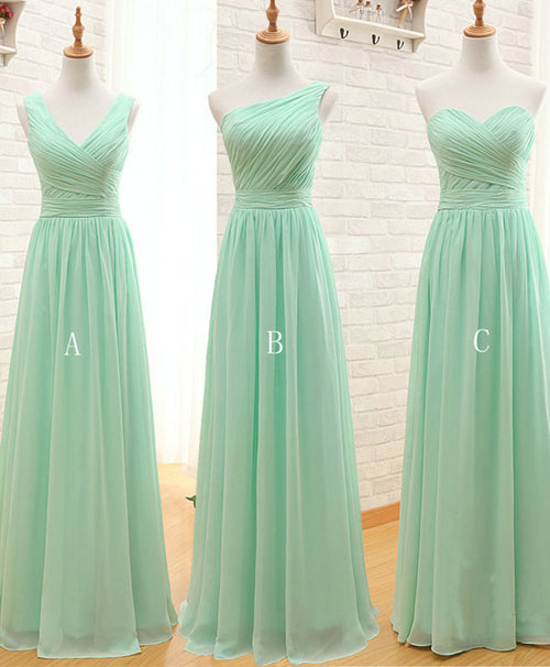 Mint green A line chiffon long prom dress, bridesmaid dress