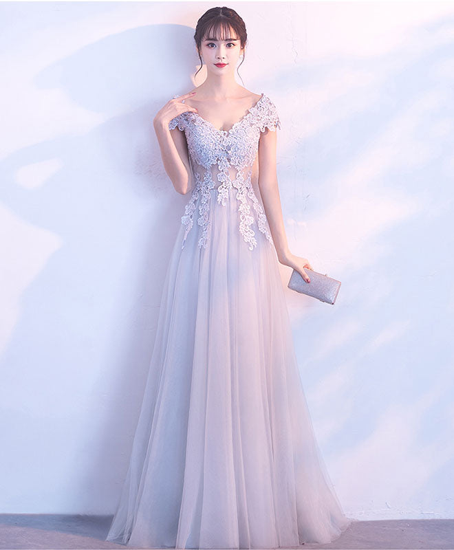 Gray v neck tulle lace long prom dress, gray evening dress