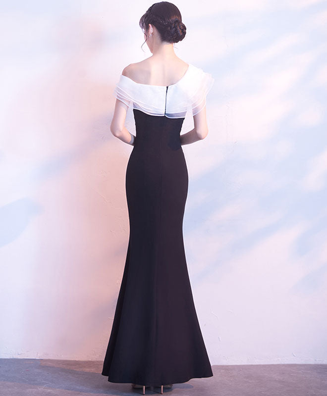 White and black long prom dress, mermaid evening dress
