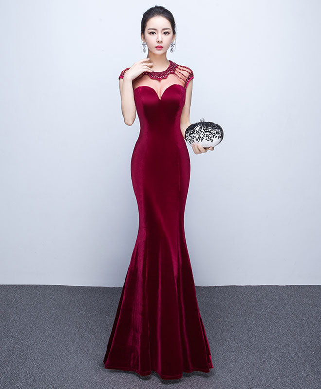 Mermaid round neck velvet long prom dress, evening dress