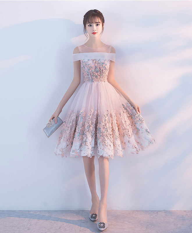 3b6d2184b9604 Pink lace tulle short prom dress, pink homecoming dress