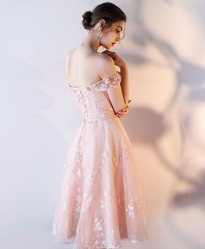 Pink lace off shoulder short prom dress, lace evening dress