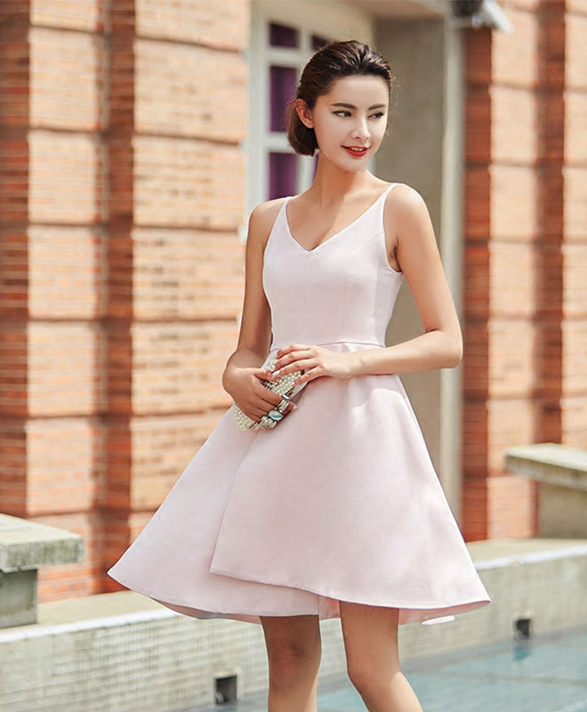 Stylish pink v neck irregular short prom dress, homecoming dress