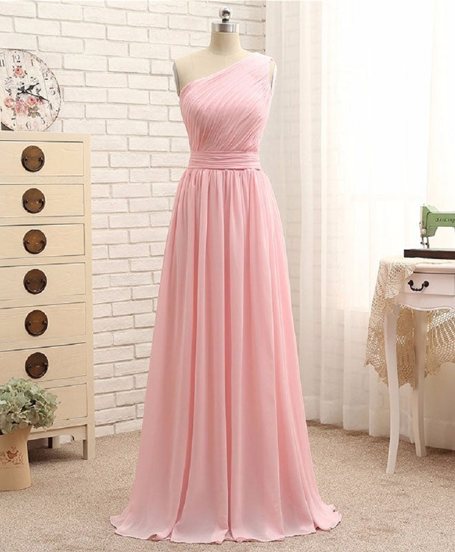 Pink A line chiffon long prom dress, bridesmaid dress
