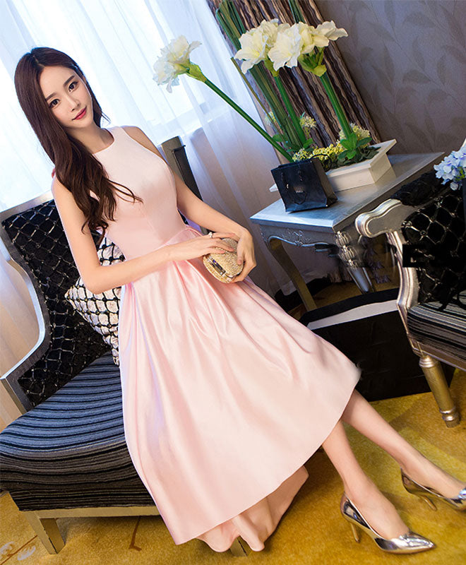 Simple pink satin tea length prom dress, pink evening dress