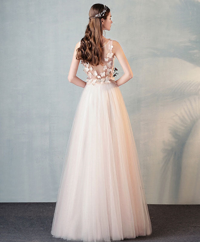 Stylish round neck tulle long prom dress, evening dress