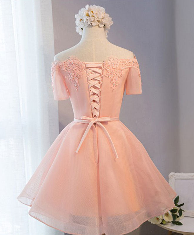 Pink A-line tulle short sleeve lace short prom dress,formal dress