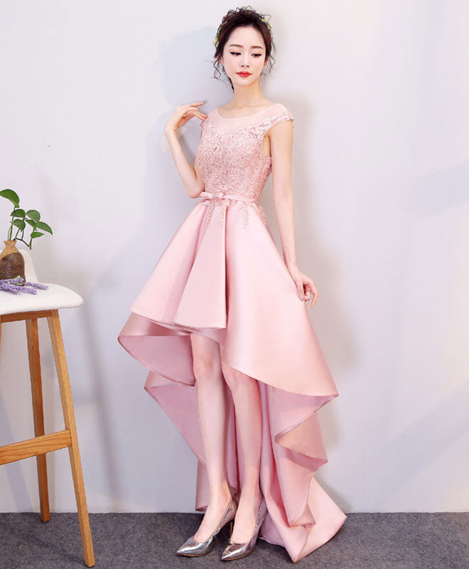 Pink high low lace prom dress, evening dress
