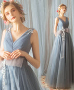 Blue v neck tulle lace long prom dress, evening dress