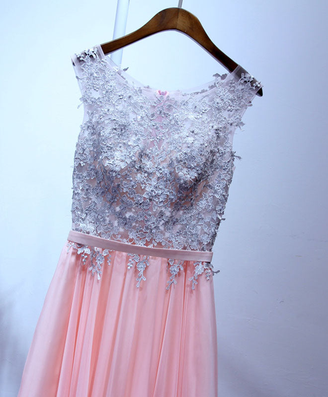 Pink tulle lace A line floor length prom dress, pink evening dress