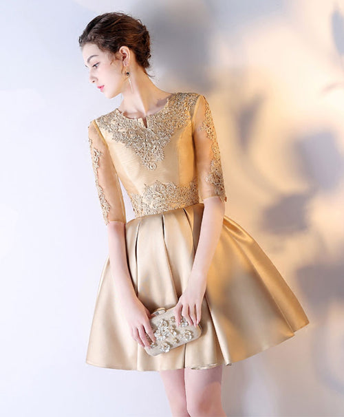 Gold lace satin short prom dress, gold eveninng dress