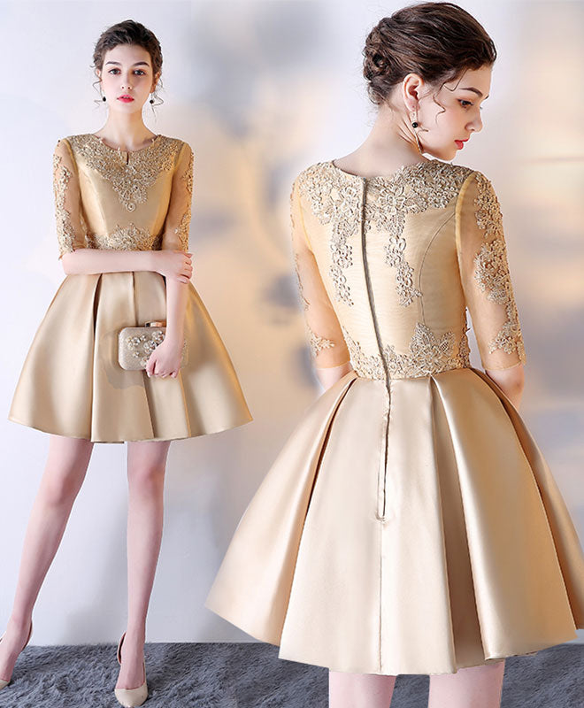 White and Gold Short Prom Dress