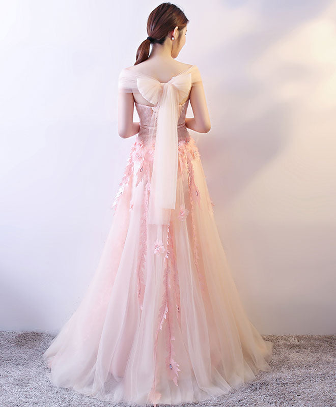 Cute sweetheart neck tulle lace long prom dress, formal dress