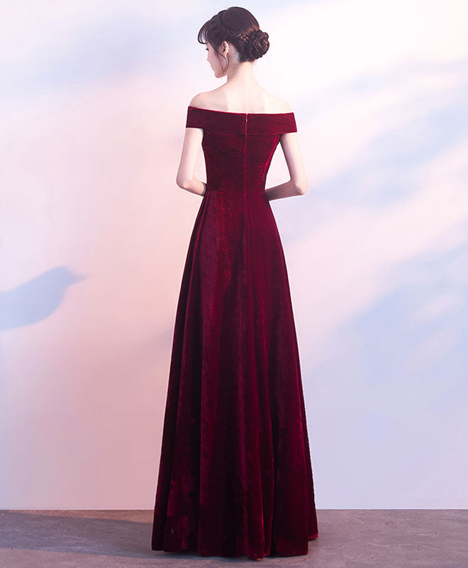 Burgundy v neck velvet long prom dress, evening dress