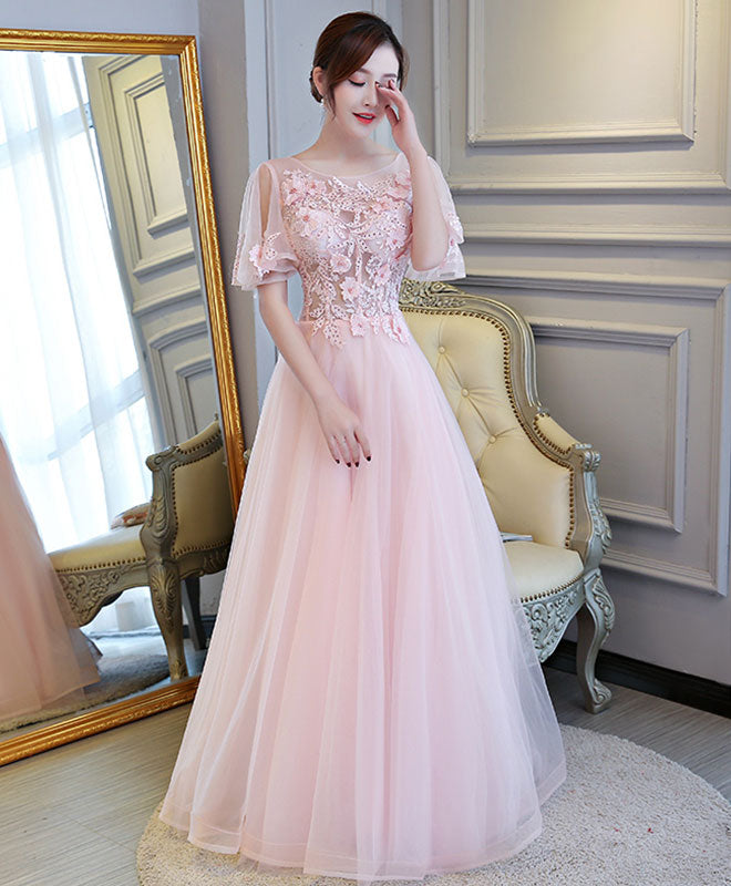 Pink A line tulle lace long prom dress, pink evening dress