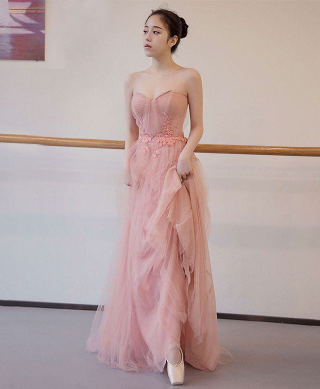 Cute pink tulle long prom dress, pink evening dress