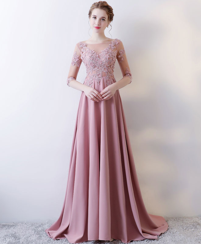 9748c7bb41ea Pink lace long prom dress, long sleeve evening dress | Shop Elegant ...