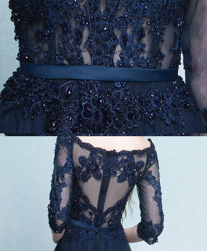Dark blue lace long prom dress, long sleeve evening dress