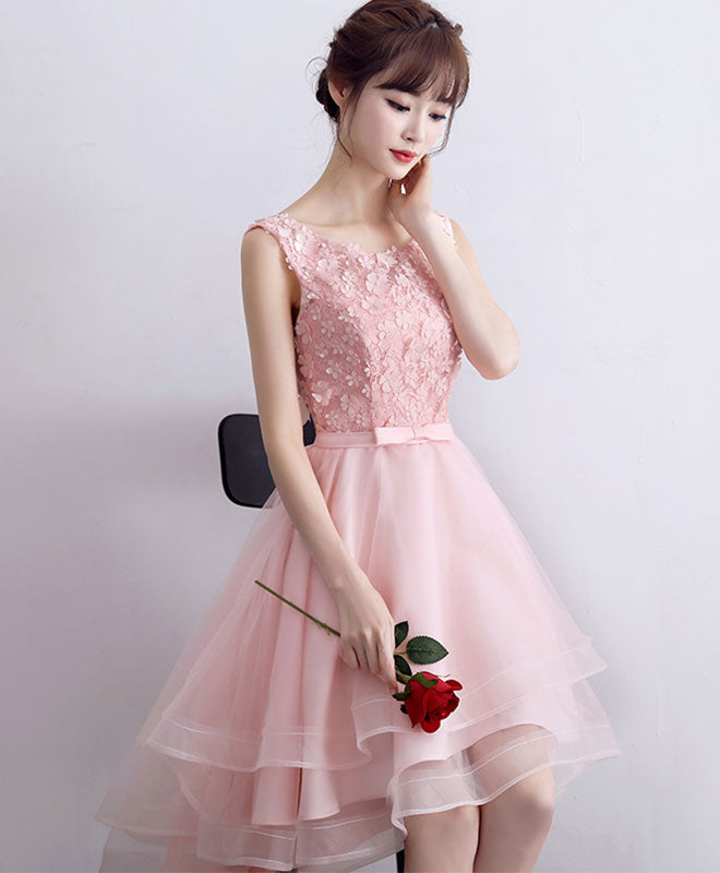 Pink A-line tulle high low prom dress, pink evening dress