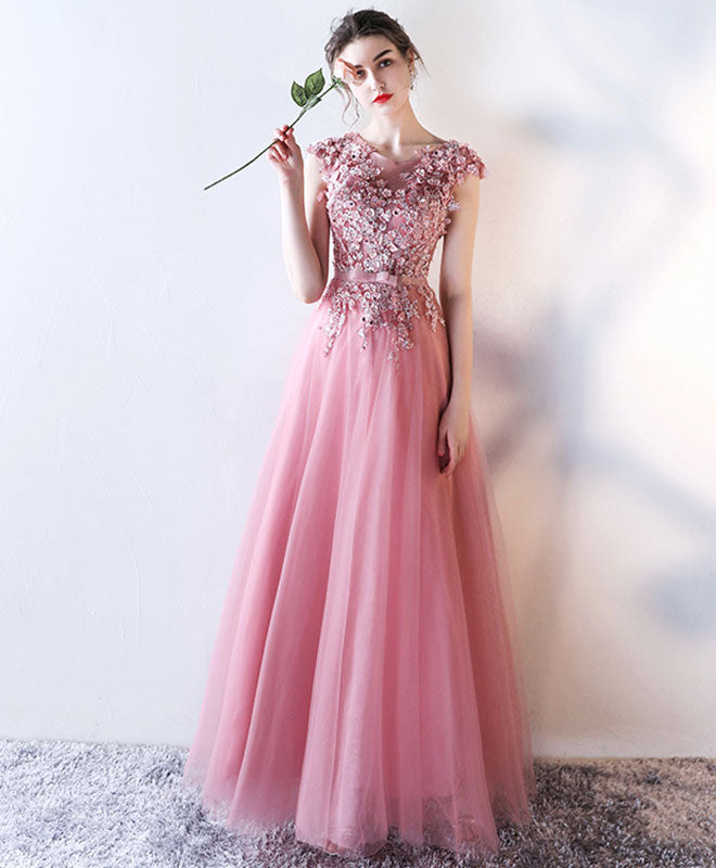 Pink lace applique long A line prom dress, pink evening dress