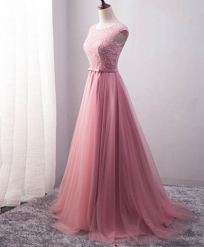 Pink tulle long A line prom dress, pink evening dress