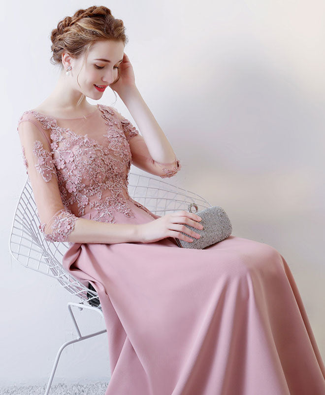 Pink lace long prom dress, long sleeve evening dress