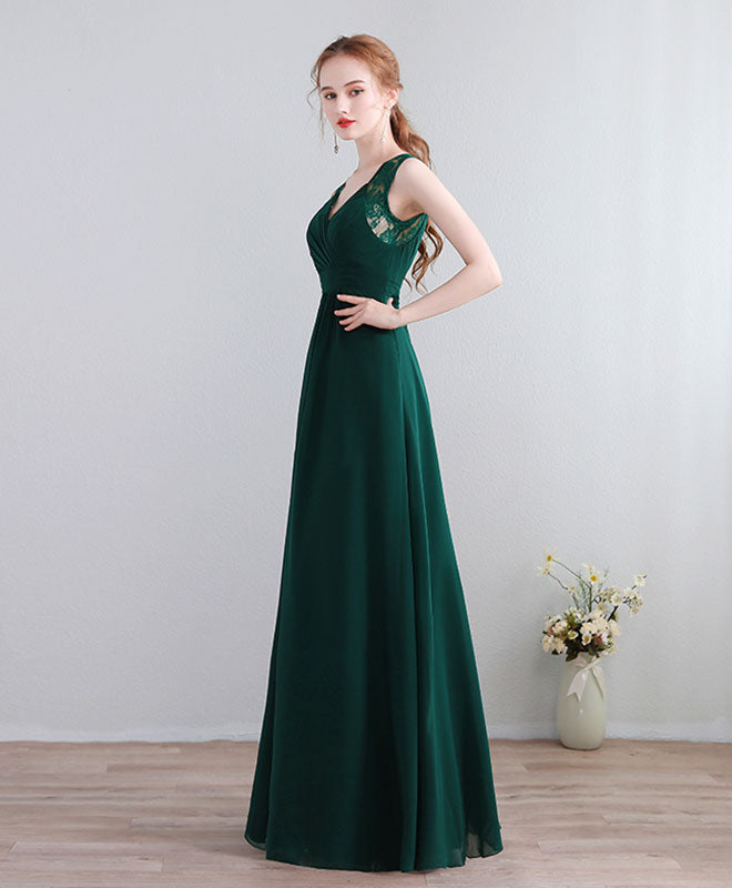 Green lace chiffon long prom dress, green evening dress