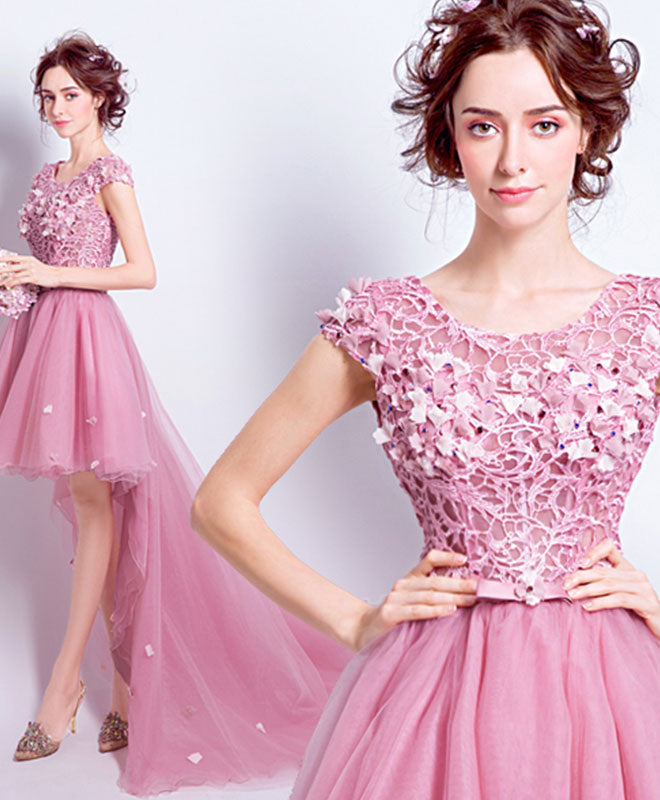 Pink lace tulle long prom dress, high low evening dress
