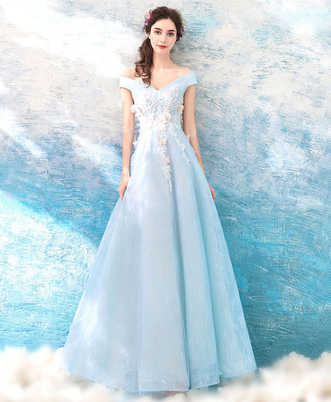 Pink v neck tulle lace long prom dress, blue evening dress