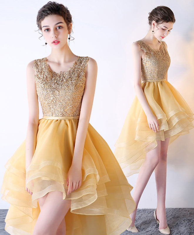Gold lace tulle short prom dress, high low evening dress