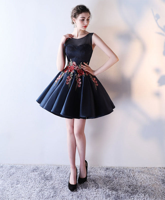 Cute round neck lace short prom dress, evening dress