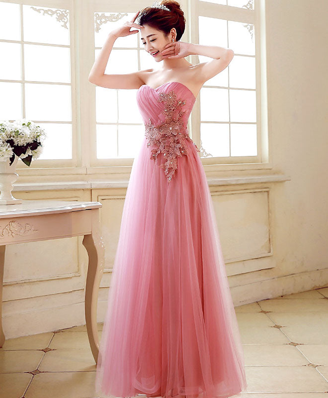 Pink sweetheart neck tulle long prom dress, evening dress
