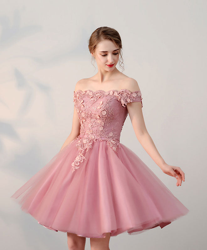 Pink lace tulle short prom dress, pink evening dresses