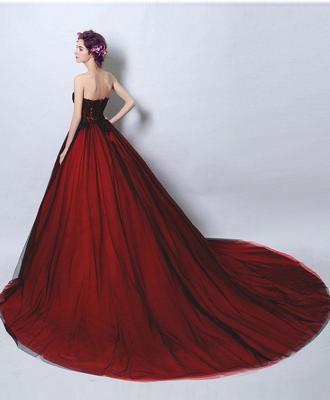 Burgundy tulle lace long prom dress, lace evening dress