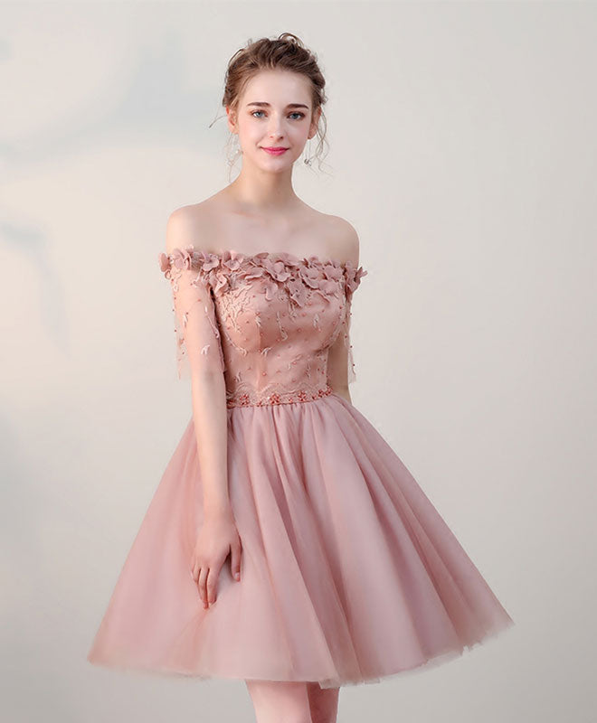 Pink lace off shoulder short prom dress, pink homecoming dress