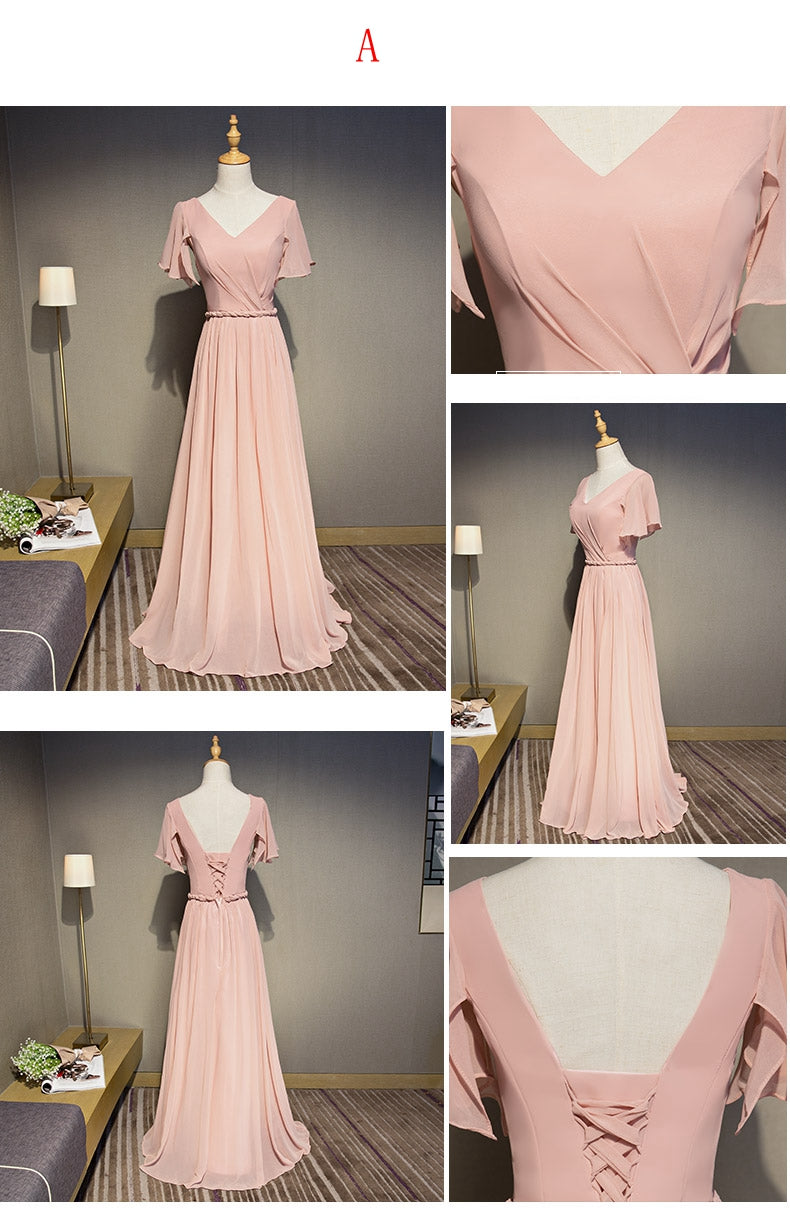 Pink chiffon long prom dress, bridesmaid dress