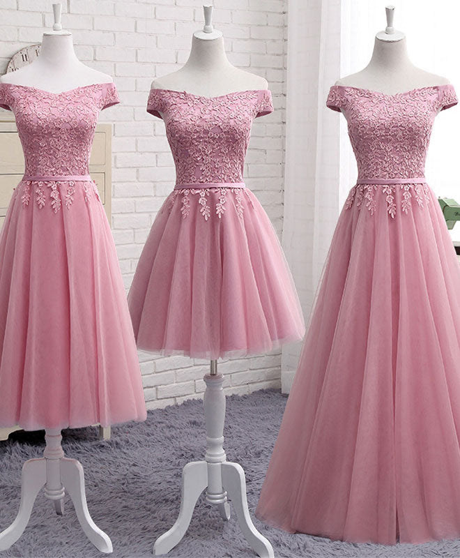 Pink A line lace off shoulder prom dress, lace evening dresses