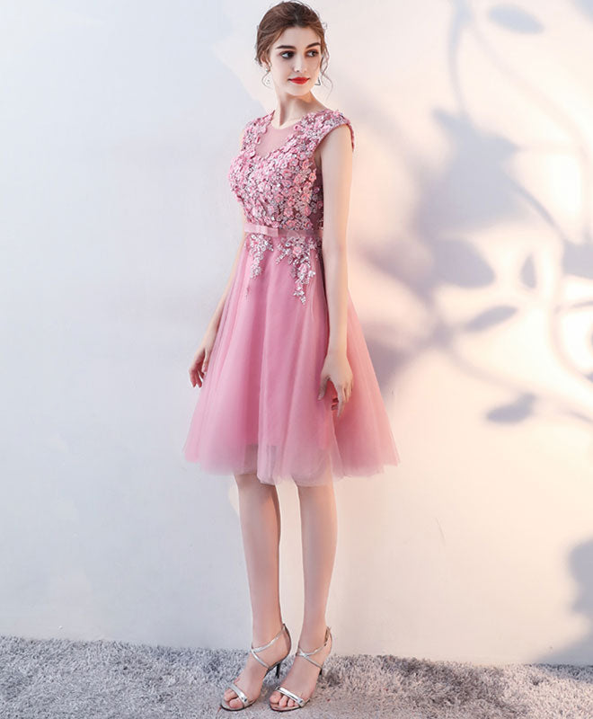 Pink lace applique short A line prom dress, pink evening dress