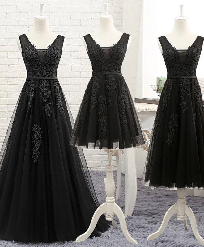 Black v neck tulle lace prom dress, lace evening dress