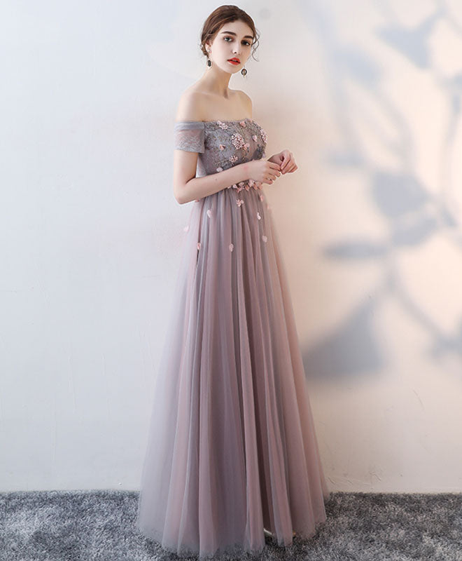 Elegant lace tulle long prom dress, lace evening dress