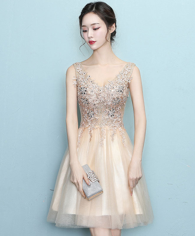Champagne lace tulle short prom dress, champagne eveing dress