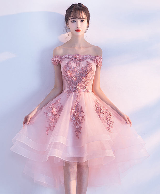 Cute pink lace tulle short prom dress, pink party dress