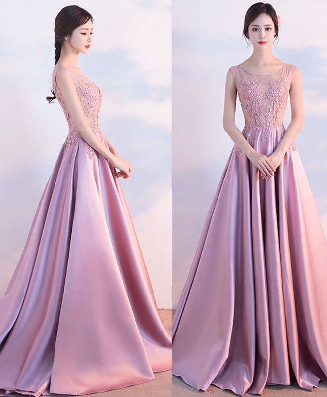 Pink lace satin A lin long prom dress, pink evening dress