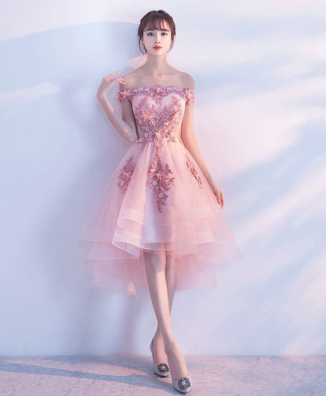 0f7520a94f0 Cute pink lace tulle short prom dress