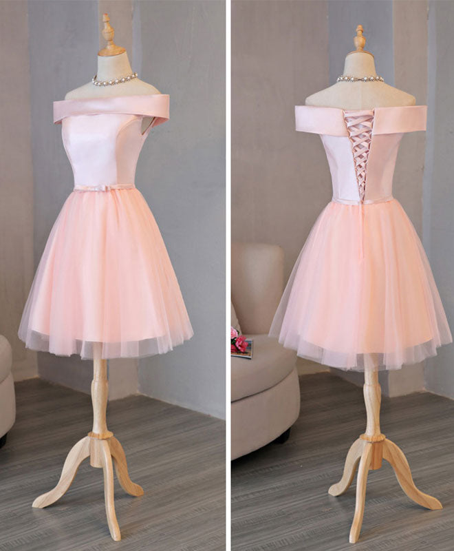 Cute pink tulle off shoulder prom dress, evening dress
