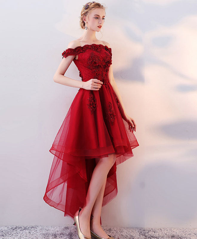 Burgundy high low tulle lace long prom dress, lace evening dress