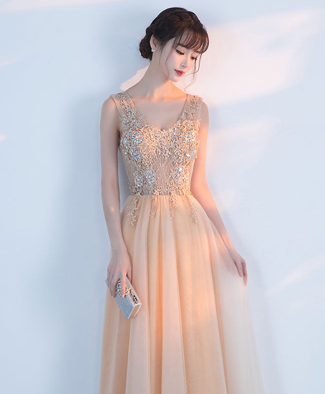 Champagne lace tulle long prom dress, champagne formal dress