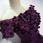 Cute purple high low prom dress, purple evening dress
